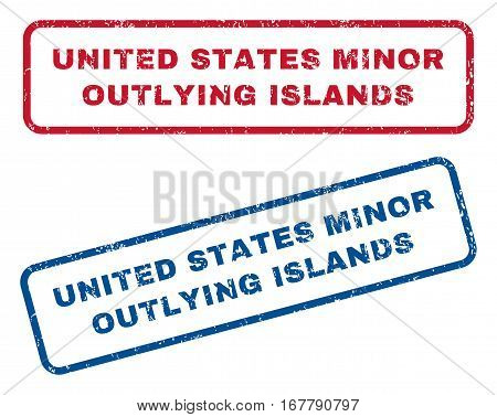 United States Minor Outlying Islands text rubber seal stamp watermarks. Vector style is blue and red ink tag inside rounded rectangular banner. Grunge design and dust texture. Blue and red signs.