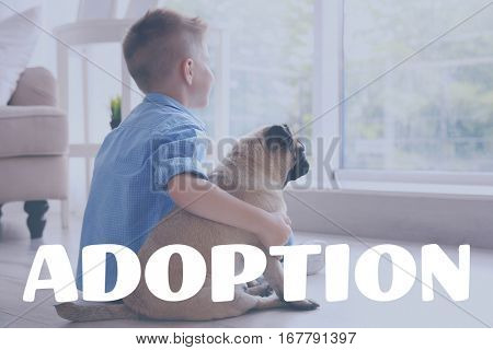 Adoption concept. Little boy sitting with pug dog on floor at home