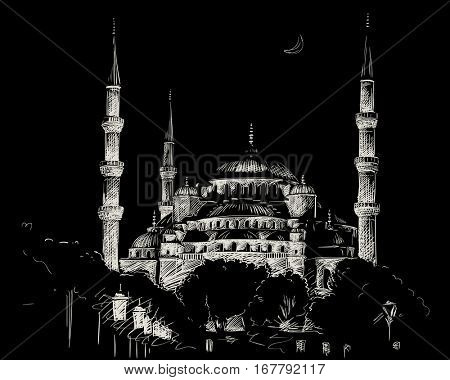 January 24, 2017: Blue Mosque in Istanbul in night, Hand drawn white sketch on black background, Vector illustration