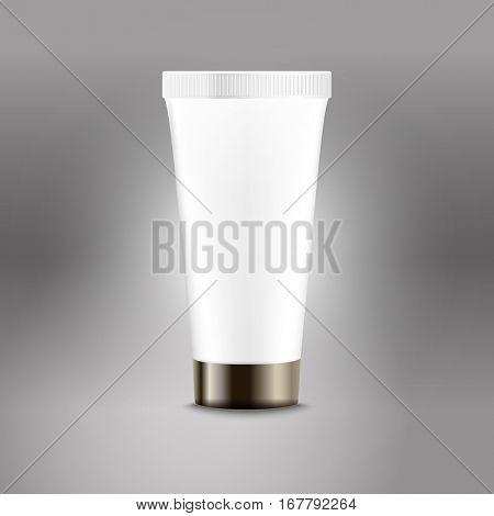 Plastic tube advertising vector template. Cream bottle template for brand logo