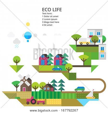 Abstract image of the ecosystem. The modern city, wind, renewable energy, agriculture