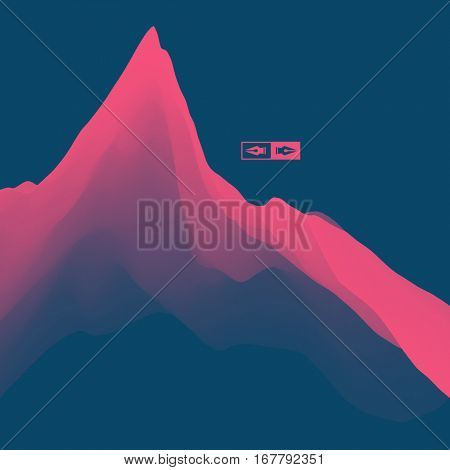 Mountain Landscape. Mountainous Terrain. Vector Illustration. Abstract Background.