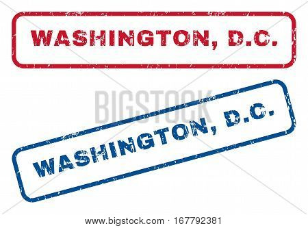 Washington, D.C. text rubber seal stamp watermarks. Vector style is blue and red ink caption inside rounded rectangular shape. Grunge design and dirty texture. Blue and red signs.