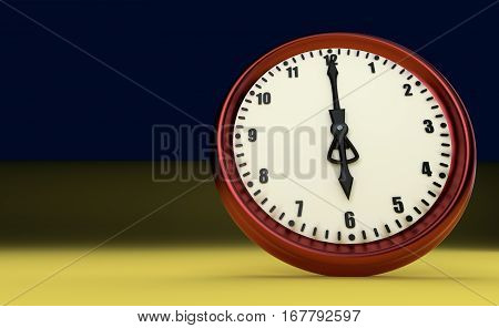 big clock deadline rush time six o'clock 3D illustration