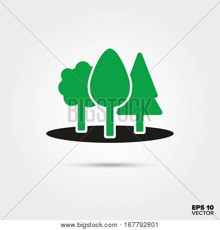 Green trees in forest Icon. Environment, Nature and Reforestation Symbol. EPS 10 Vector.