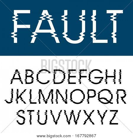 vector glitched alphabet, illustration of letters with screen distortion