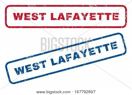 West Lafayette text rubber seal stamp watermarks. Vector style is blue and red ink tag inside rounded rectangular shape. Grunge design and unclean texture. Blue and red emblems.