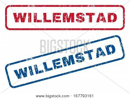 Willemstad text rubber seal stamp watermarks. Vector style is blue and red ink caption inside rounded rectangular shape. Grunge design and dust texture. Blue and red signs.