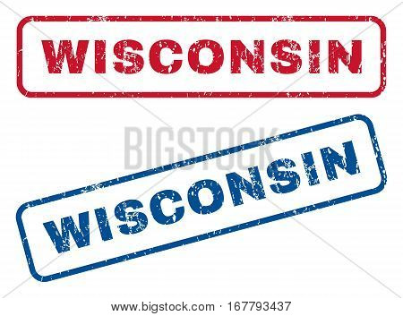 Wisconsin text rubber seal stamp watermarks. Vector style is blue and red ink caption inside rounded rectangular banner. Grunge design and dust texture. Blue and red stickers.