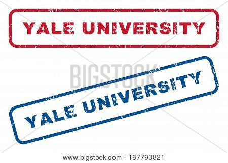 Yale University text rubber seal stamp watermarks. Vector style is blue and red ink caption inside rounded rectangular shape. Grunge design and dust texture. Blue and red signs.