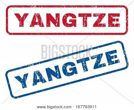 Yangtze text rubber seal stamp watermarks. Vector style is blue and red ink tag inside rounded rectangular shape. Grunge design and scratched texture. Blue and red emblems.