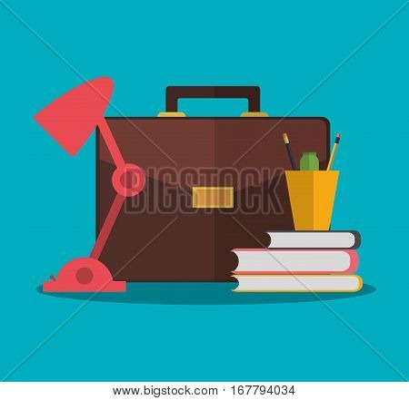 briefcase, lamp and briefcase over blue background. office workplace concept. colorful design. vector illustration
