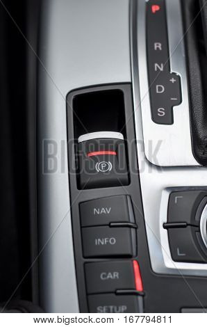 Photography of automatic gearbox car interior detail