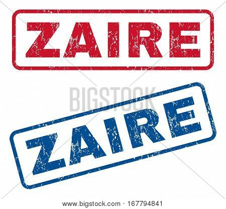 Zaire text rubber seal stamp watermarks. Vector style is blue and red ink caption inside rounded rectangular shape. Grunge design and scratched texture. Blue and red stickers.