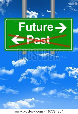 Future versus past text on road sign concept