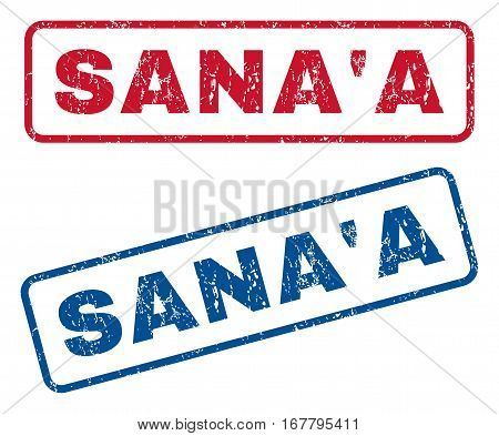 Sana'A text rubber seal stamp watermarks. Vector style is blue and red ink tag inside rounded rectangular shape. Grunge design and unclean texture. Blue and red emblems.