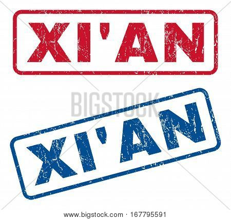 Xi'An text rubber seal stamp watermarks. Vector style is blue and red ink caption inside rounded rectangular shape. Grunge design and dirty texture. Blue and red stickers.