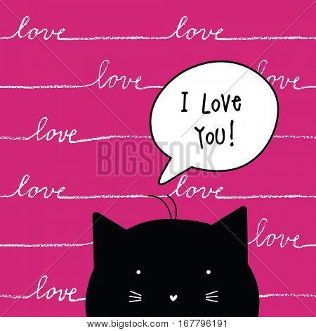 Valentine's card with copy space. I love you. Cat character. Template. Graphic design element with seamless pattern.