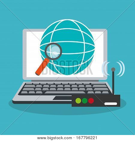 laptop computer with magnifying glass and router icon  over blue background. colorful design. vector illustration