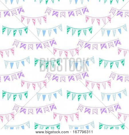 Bunting party flags garland seamless vector pattern. Good idea for birthday party, wedding celebration, wrapping paper, textile, wallpaper, arrival baby card and other.