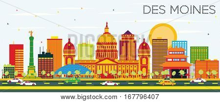 Des Moines Skyline with Color Buildings and Blue Sky. Vector Illustration. Business Travel and Tourism Concept. Image for Presentation Banner Placard and Web Site.