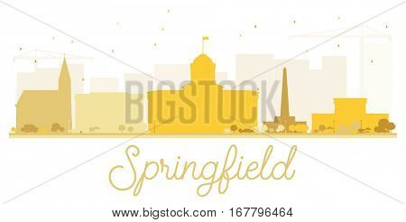 Springfield City skyline golden silhouette. Vector illustration. Simple flat concept for tourism presentation, banner, placard or web site. Cityscape with landmarks