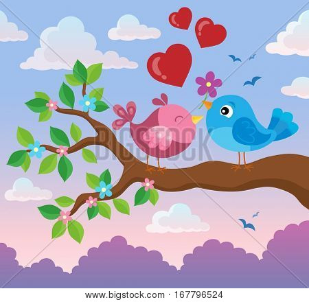 Valentine birds on branch theme 2 - eps10 vector illustration.