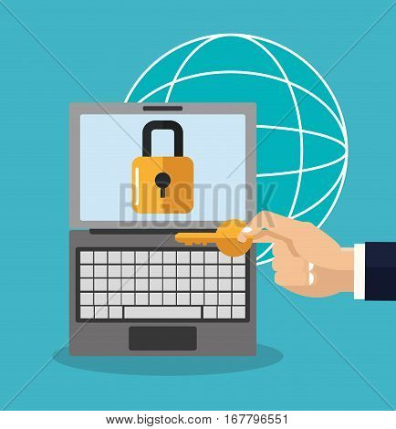 laptop computer with padlock and hand holding a key over blue background. colorful design. vector illustration