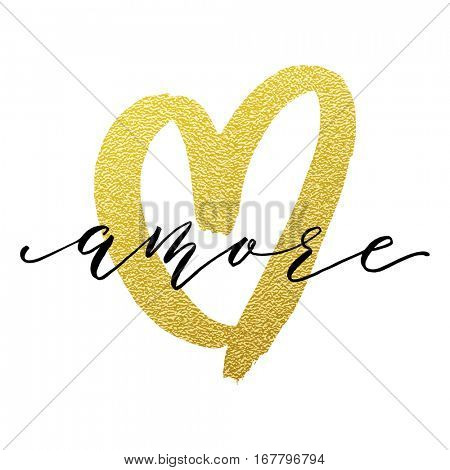 Gold Love heart and Amore in Italian text lettering glitter on white premium Valentine card