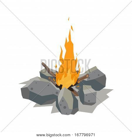 Isolated illustration of campfire logs burning bonfire. Firewood stack on white background. Vector wood explosion glowing flame nature blazing power.