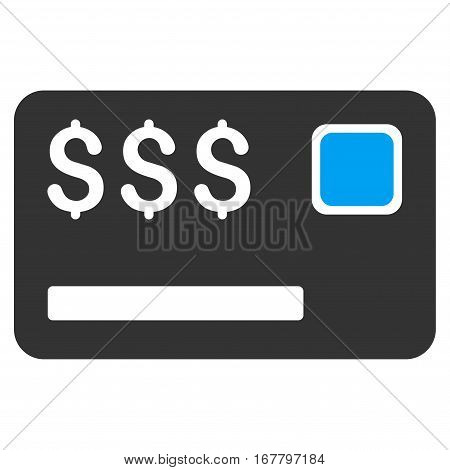 Credit Card vector pictograph. Illustration style is a flat iconic bicolor blue and gray symbol on white background.