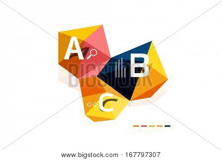 Modern low poly infographics template with A B C letters