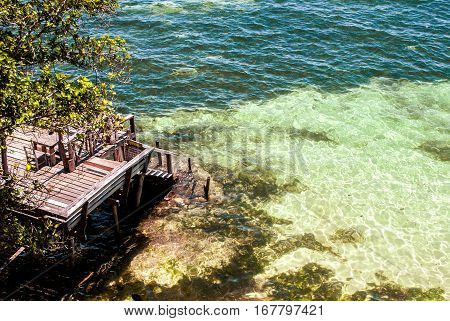 Beach restaurant over clear waters on Panglao, Bohol, Philippines