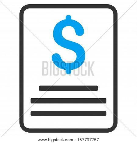 Invoice Budget vector pictogram. Illustration style is a flat iconic bicolor blue and gray symbol on white background.
