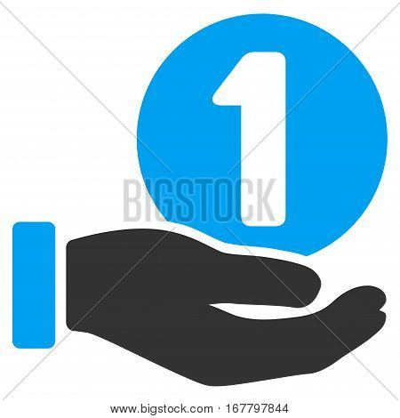 One Coin Payment Hand vector pictogram. Illustration style is a flat iconic bicolor blue and gray symbol on white background.