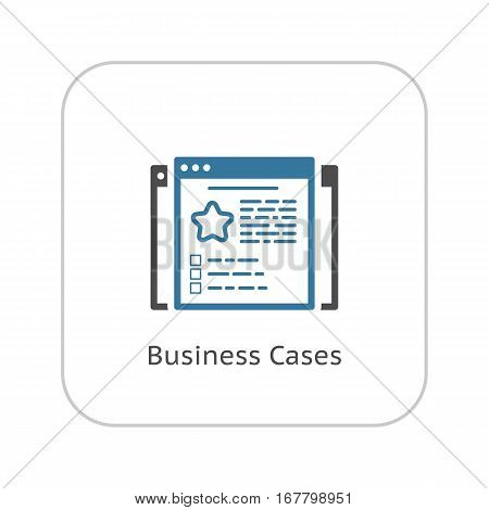 Business Cases Icon. Flat Design. Isolated Illustration. App Symbol or UI element. Web Pages with Examples of Successful Business.