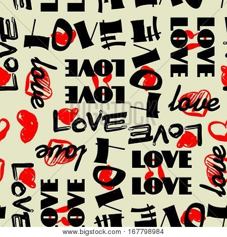 art vintage letter pattern background for Valentine day with word love in black, beige and red colors