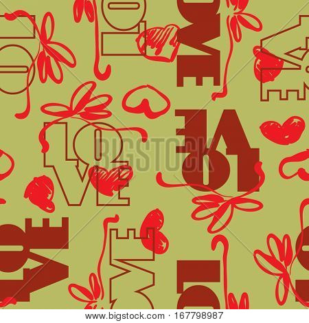 art vintage letter pattern background for Valentine day with word love in olive gold and red colors