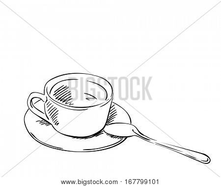 Sketch of tea cup with spoon isolated on white background, Hand drawn vector illustration