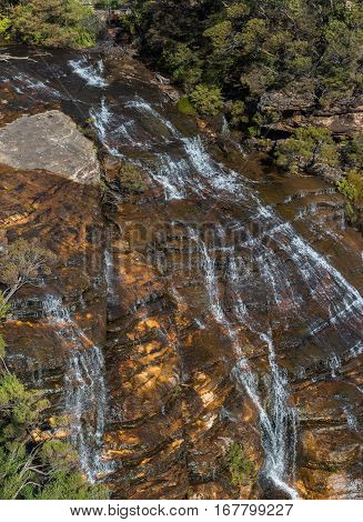 Wentworth Falls, Upper Section Of Famous Waterfall In Blue Mountains