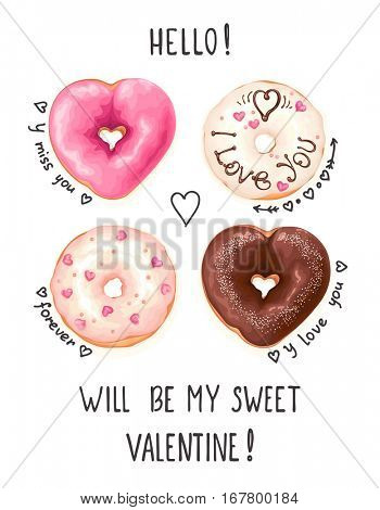 Vertical greeting card with glazed Donuts and doodle text on white background. Vector abstract illustration with love for Valentine's day.