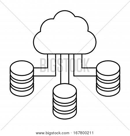 figure blue cloud hosting data center image, vector illustration