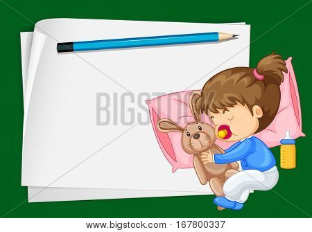 Paper template with girl sleeping illustration