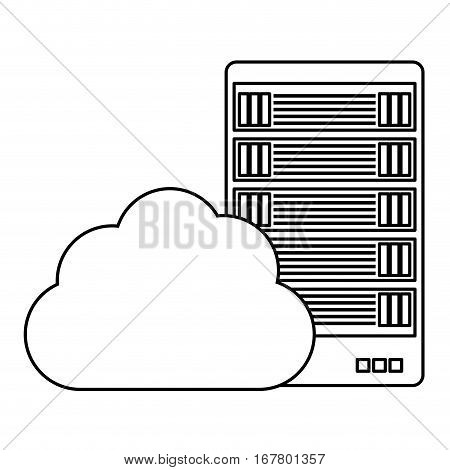 figure data hosting optimization application related icon, vector illustration