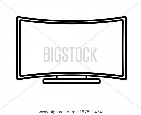 Curved Flat Screen Smart TV. Linear thin lien vector illustration