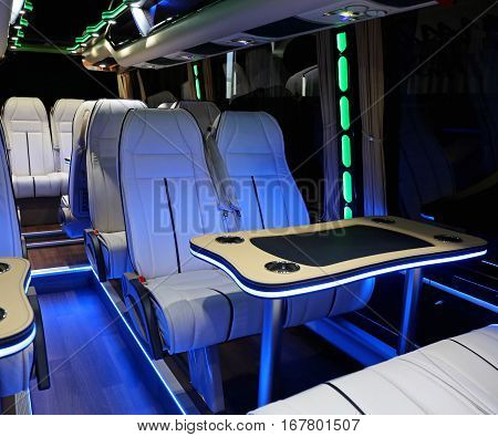 Mini Bus Coach Interior Leather Seats and Table