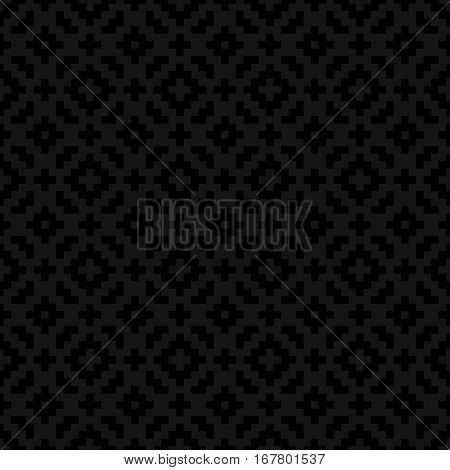 Black Squares Pixel Art Pattern. Checked White Neutral Seamless Pattern for Modern Design in Flat Style. Tileable Geometric Vector Background.