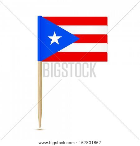 Flag of Puerto Rico. Flag toothpick on white background 10eps