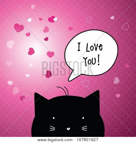 Valentine's card with copy space. I love you. Cat character.