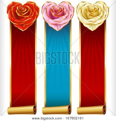 Cute Rose Hearts and Swirl Ribbons vertical Banners set. Red, pink, white flowers and golden decoration.   Valentines Day, Wedding celebration or Romantic Lovely Frames Design. Vector Illustration